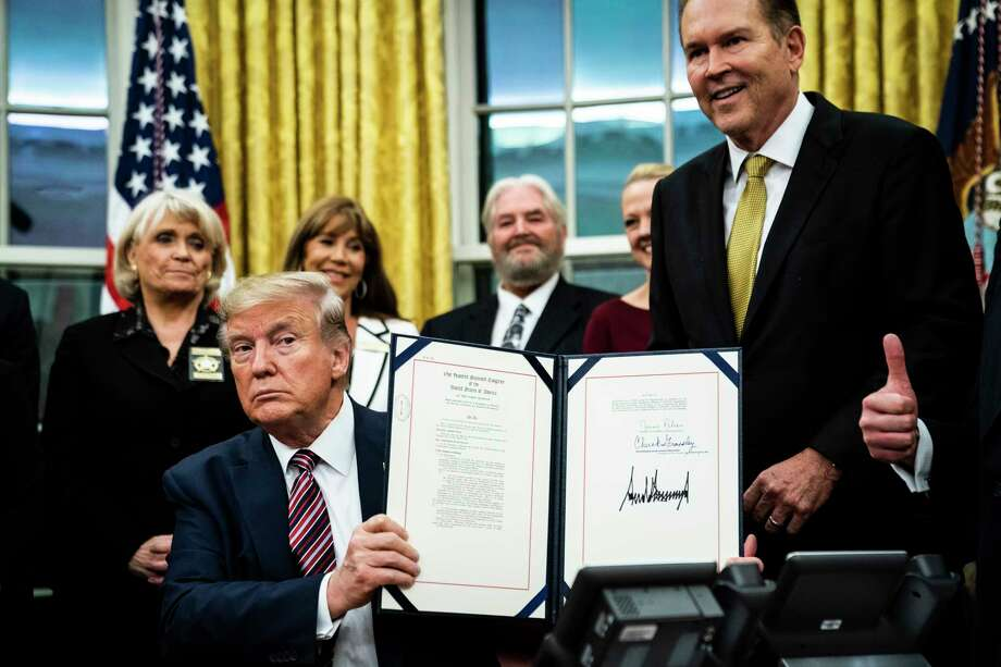 President Donald Trump signed the Preventing Animal Cruelty and Torture Act on Monday in the Oval Office. Photo: Washington Post Photo By Jabin Botsford / The Washington Post
