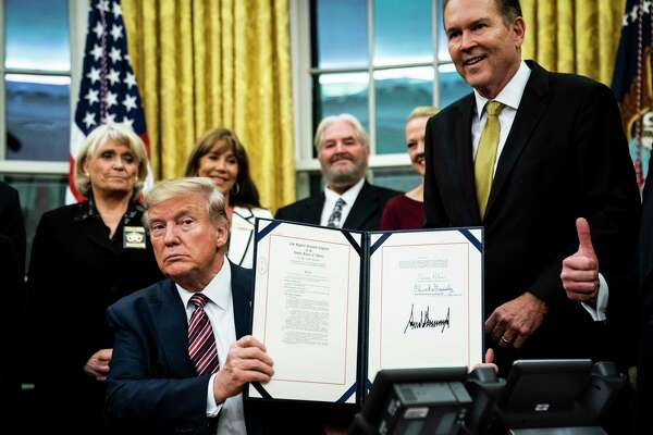 President Donald Trump signed the Preventing Animal Cruelty and Torture Act on Monday in the Oval Office.