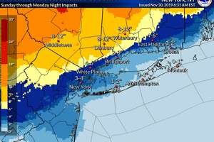 A map from the National Weather Service shows projected snowfall across Connecticut for a storm that is expected to hit Sunday, Dec. 1 and last into Monday, Dec. 2.