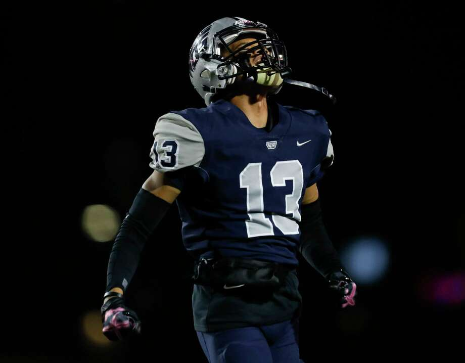 West Orange-Stark defensive back Jadon Jones (13) reacts after his interception of a Bellville quarterback Jake Lischka is called back after a holding penalty by the Mustangs during the first quarter of a Region III-4A Division II semifinal high school football playoff game at Randall Reed Stadium, Friday, Nov. 29, 2019, in New Caney. Jones' interception was Photo: Jason Fochtman, Staff Photographer / Houston Chronicle