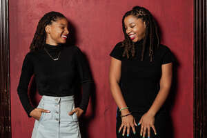 Sisters Halle and Chloe Bailey pose for a portait at the House of Blues Friday September 14, 2018. The duo form the R&B group Chloe X Halle.