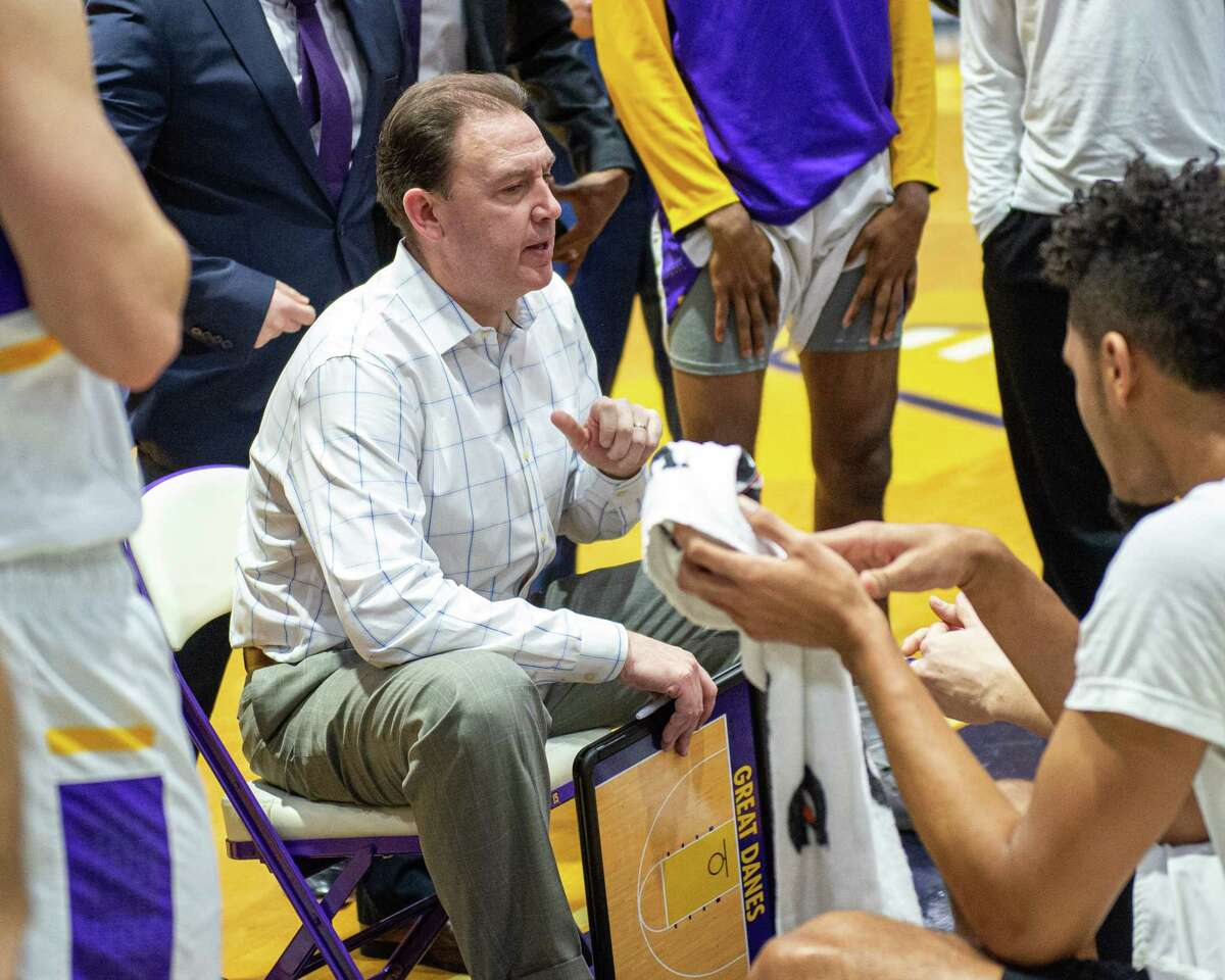 UAlbany head coach Will Brown during a game against American University at the SEFCU arena in Albany, New York on Saturday, Nov. 30, 2019 (Jim Franco/Special to the Times Uniuon.)