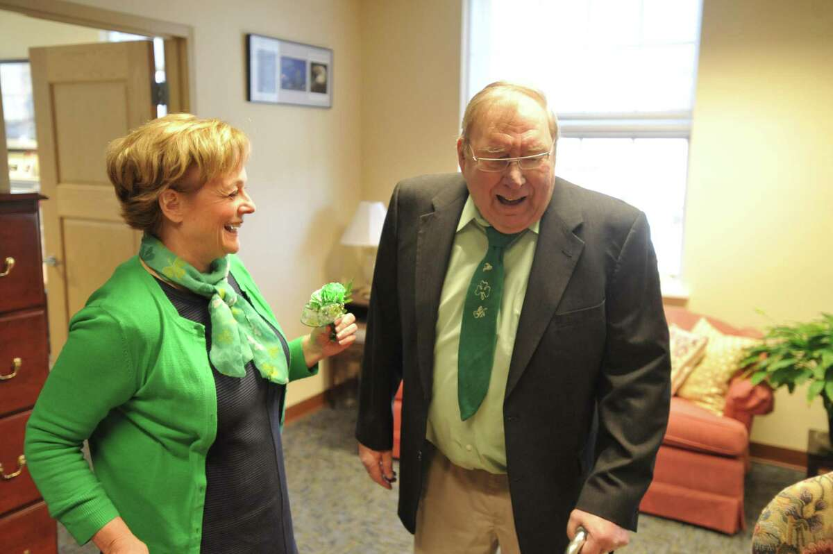 In this file photo, Owen Canfield is celebrated as the 2018 Lord Mayor in the city of Torrington, celebrating both St. Patrick's Day and his longtime service to the community. Canfield was a long-time columnist for the Register Citizen. He passed away in November 2019.
