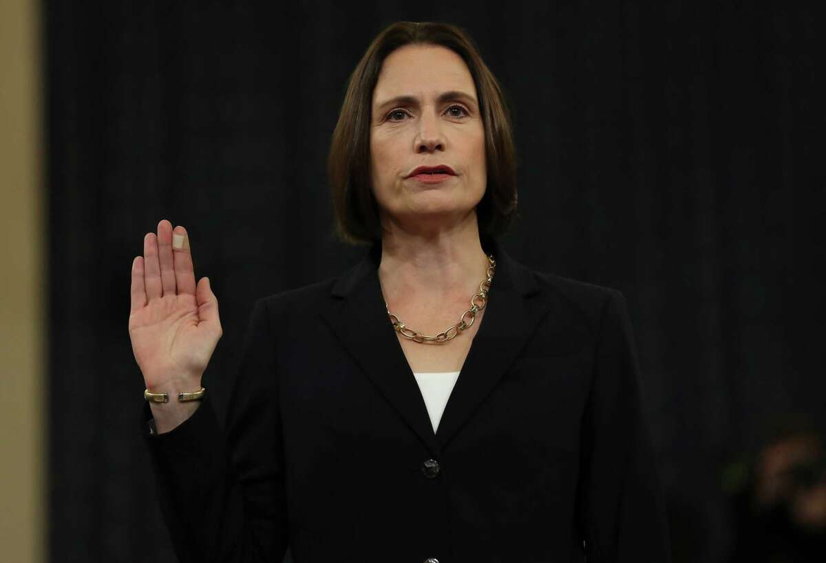 WASHINGTON, DC - NOVEMBER 21: Fiona Hill, the National Security Councils former senior director for Europe and Russia, is sworn in to testify before the House Intelligence Committee in the Longworth House Office Building on Capitol Hill November 21, 2019 in Washington, DC. The committee heard testimony during the fifth day of open hearings in the impeachment inquiry against U.S. President Donald Trump, whom House Democrats say held back U.S. military aid for Ukraine while demanding it investigate his political rivals and the unfounded conspiracy theory that Ukrainians, not Russians, were behind the 2016 computer hacking of the Democratic National Committee. (Photo by Chip Somodevilla/Getty Images) *** BESTPIX ****