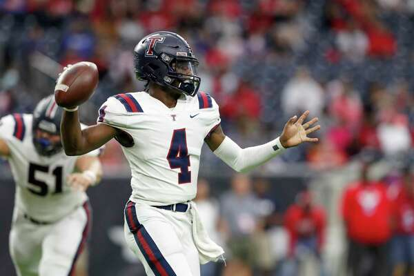 Tompkins Falcons quarterback Jalen Milroe (4) throws a pass during the first half of the high school football playoff game between the Tompkins Falcons and the Atascocita Eagles at NRG Stadium in Houston, TX on Saturday, November 30, 2019. The Eagles lead the Falcons 35-3 at halftime.