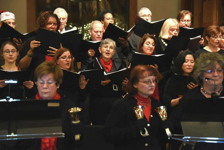 Music on the Hill ringers and singers will perform Sounds of the Season Dec. 13 at St. Matthew's Episcopal Church in Wilton, Conn. Photo: Contributed Photo / Music On The Hill / Copyright Tracy Pennoyer203-536-9321