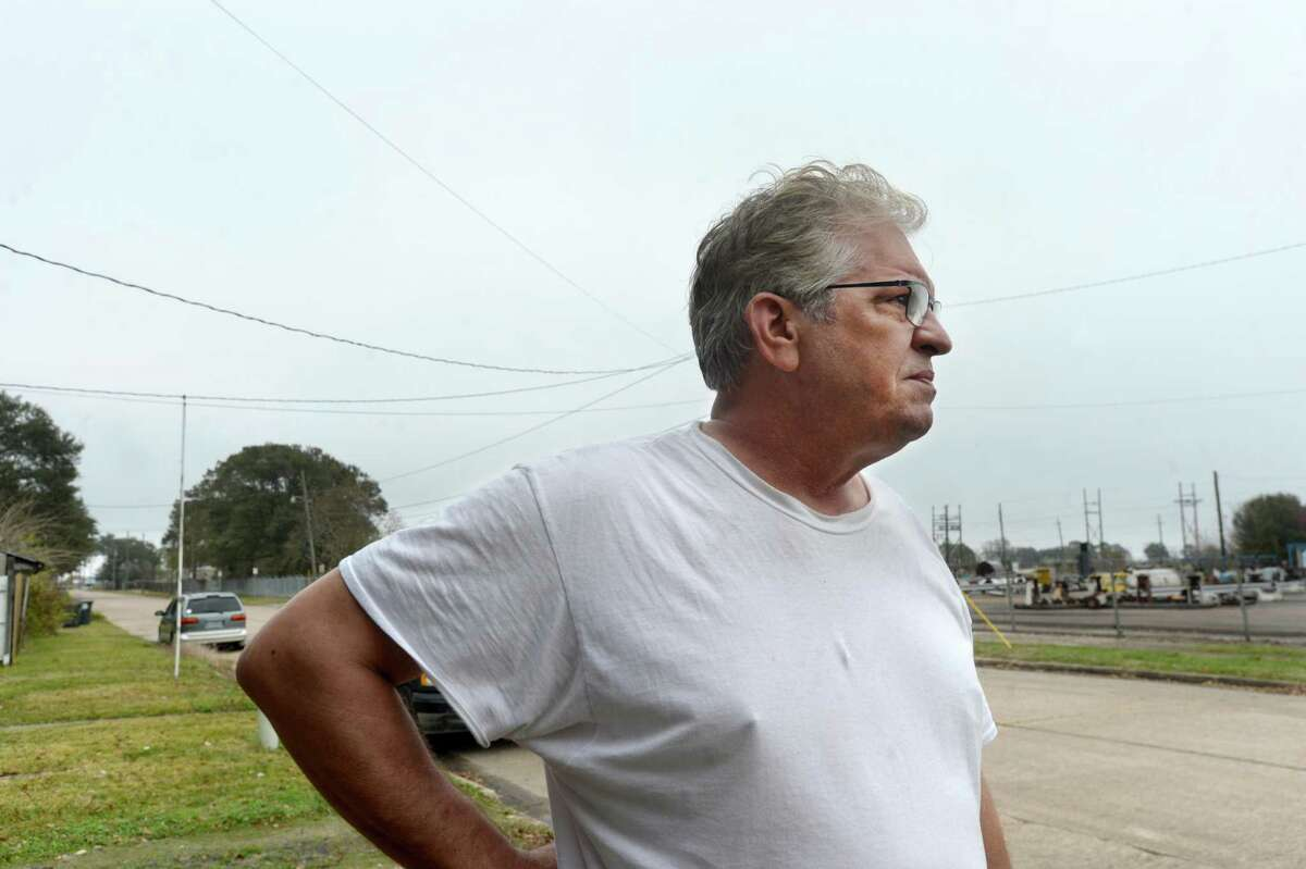 Joey Elizondo, a 20-year Port Neches resident who lives less than a quarter mile from the TPC chemical plant, discusses the damage to his home and thoughts on living in the shadow of industry Friday morning. Photo taken Friday, November 29, 2019 Kim Brent/The Enterprise