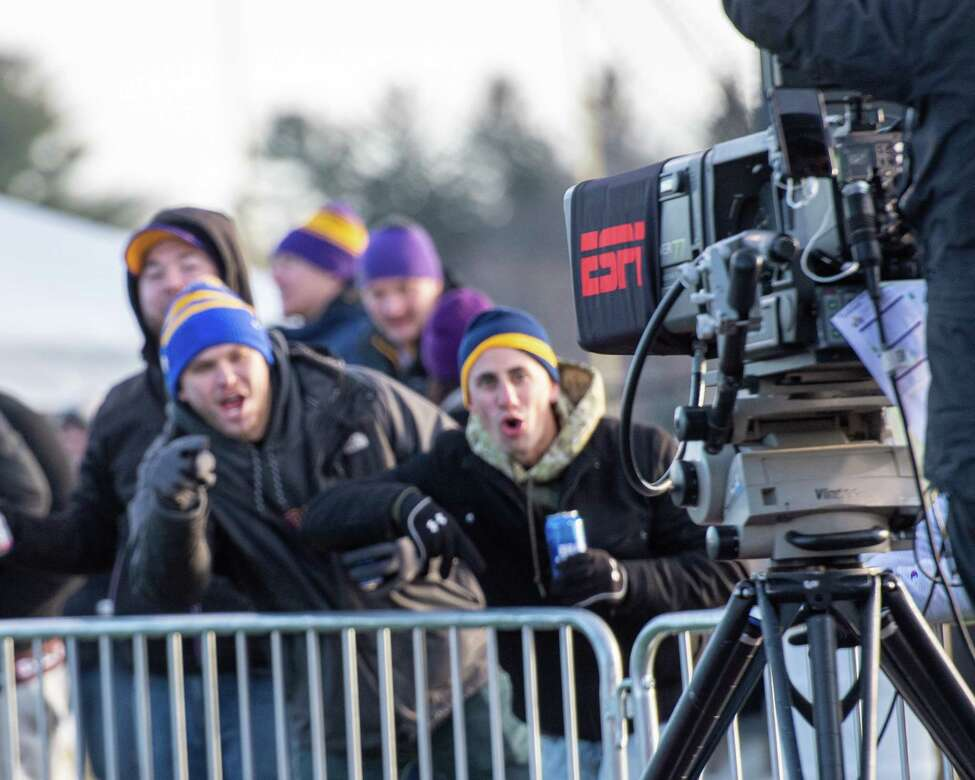 UAlbany football fans ham it up for the ESPN camera during a first round NCAA football playoff game against Central Connecticut at UAlbany on Saturday, Nov. 30, 2019 (Jim Franco/Special to the Times Union.)