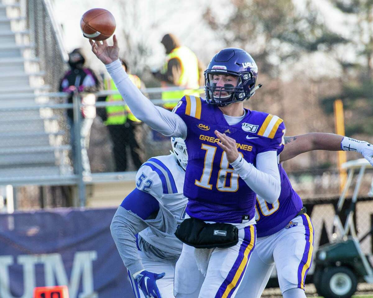 UAlbany quarterback Jeff Undercuffler passes the ball during the first round of the NCAA playoffs against Central Connecticut at UAlbany on Saturday, Nov. 30, 2019 (Jim Franco/Special to the Times Union.)