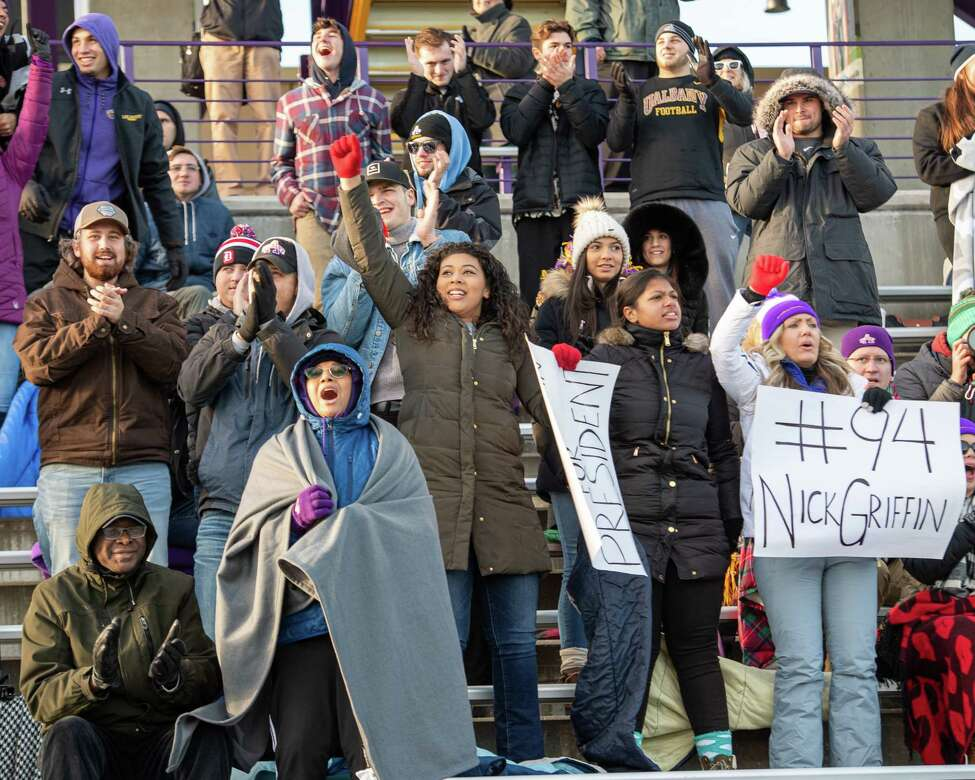 UAlbany football fans had reason to cheer during the during a first round NCAA football playoff game against Central Connecticut at UAlbany on Saturday, Nov. 30, 2019 (Jim Franco/Special to the Times Union.)
