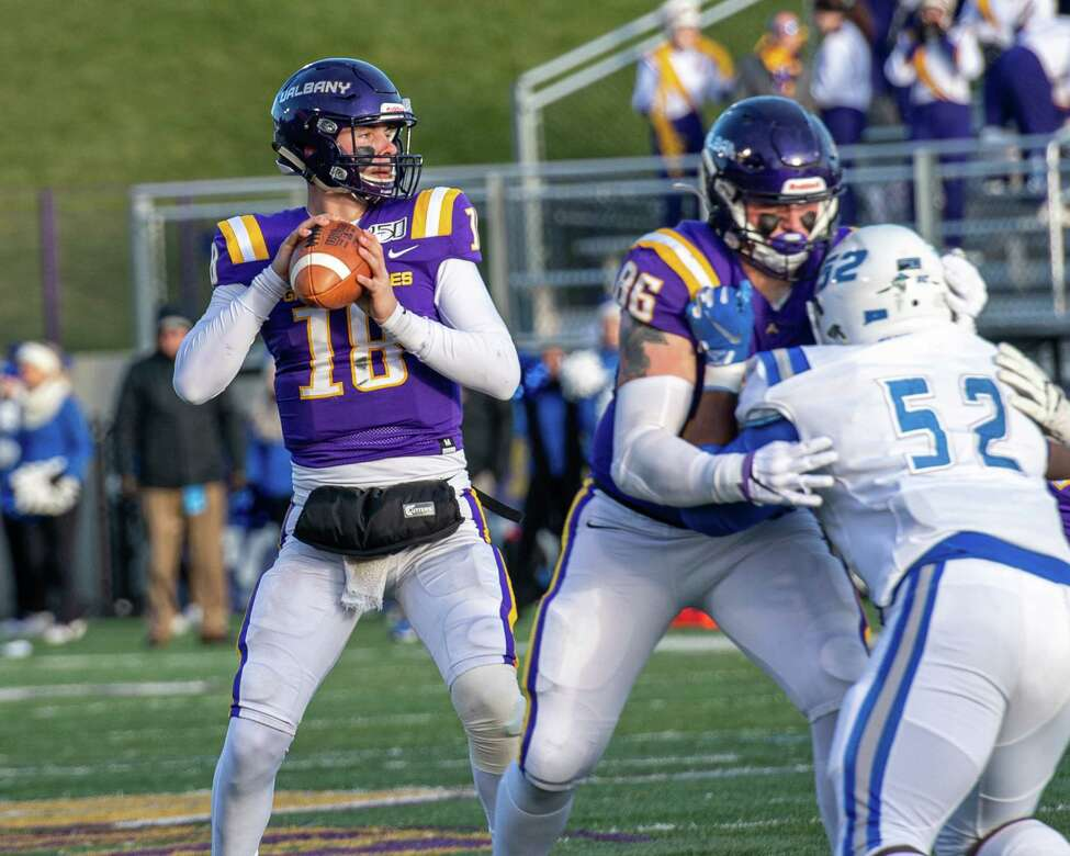 UAlbany quarterback Jeff Undercuffler has plenty of time to find a receiver behind the blocking of tight end LJ Wesneski during the first round of the NCAA playoffs against Central Connecticut at UAlbany on Saturday, Nov. 30, 2019 (Jim Franco/Special to the Times Union.)