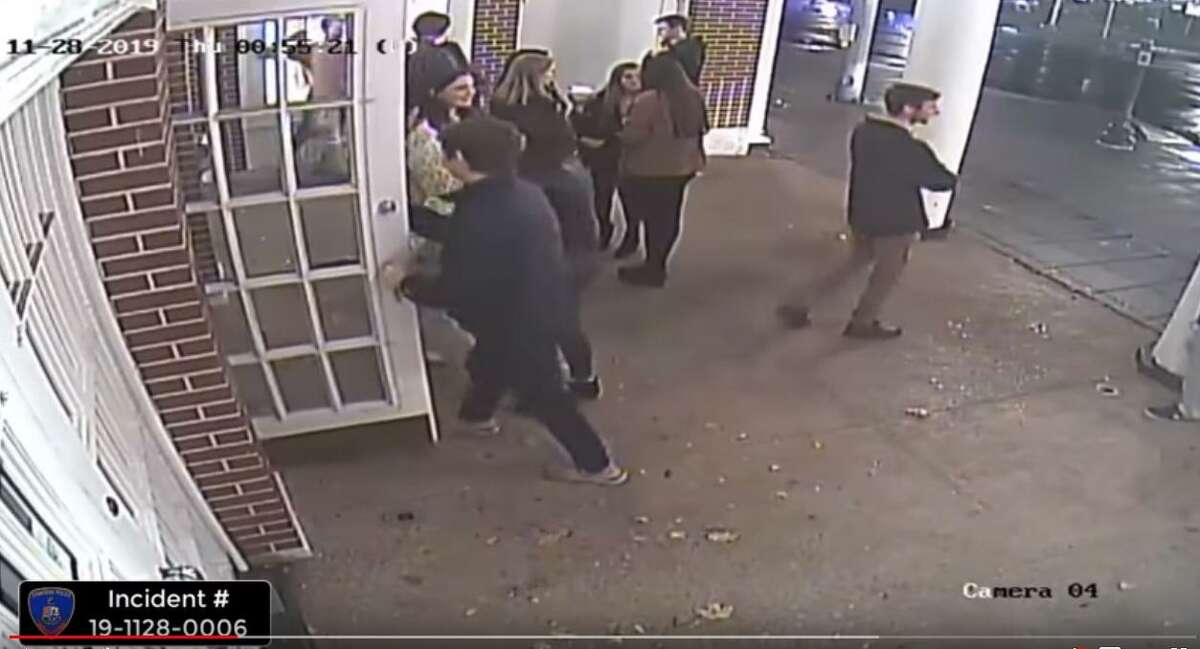 A screengrab from the YouTube video of surveillance footage posted by Stamford police.