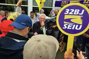 Norwalk Mayor Harry Rilling addresses a union protest at the northbound Darien rest stop on I-95 in Darien, Conn. on Wednesday, August 28, 2019.