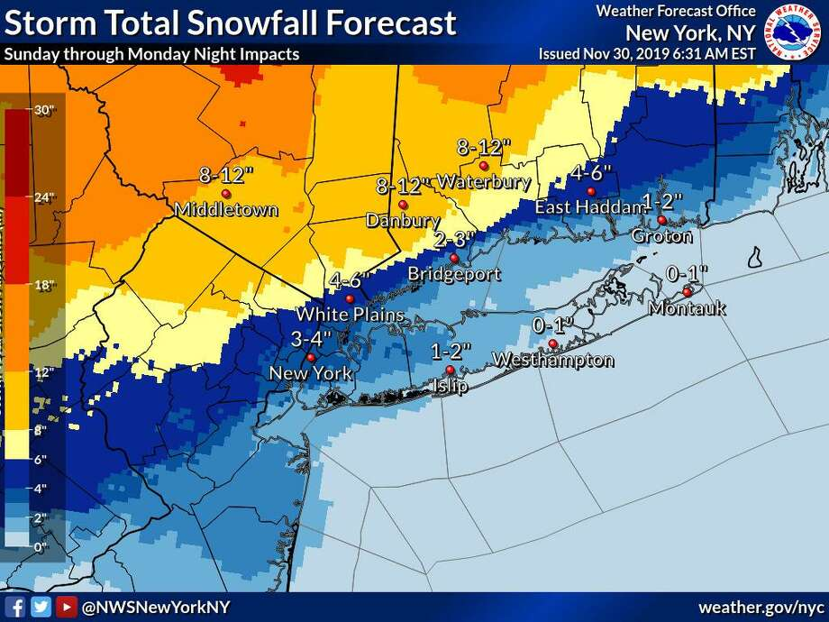 A map from the National Weather Service shows projected snowfall across Connecticut for a storm that is expected to hit Sunday, Dec. 1 and last into Monday, Dec. 2. Photo: Contributed Photo / National Weather Service