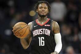 Houston Rockets guard Ben McLemore plays against the Minnesota Timberwolves during a basketball game Saturday, Nov. 16, 2019 in Minneapolis. (AP Photo/Andy Clayton- King)