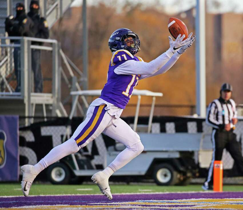UAlbany senior wide receiver Jerah Reeves catches a pass from quarterback Jeff Undercuffler to score a touchdown in the 3rd quarter against Central Connecticut. The Danes won 42-14 in the NCAA playoffs at UAlbany on Nov. 30, 2019 in Albany, N.Y. (Thomas Palmer/Times Union)