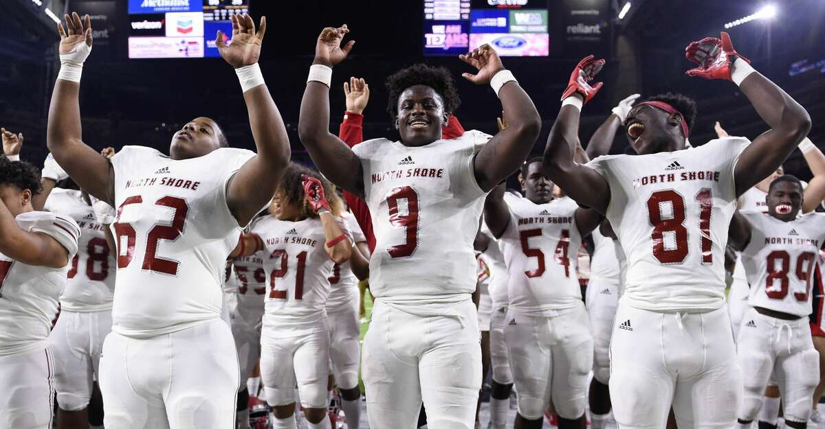 North Shore quarterback Dematrius Davis (9) and teammates celebrate the team's win over Katy in a 6A Division 1 regional high school football playoff game, Friday, Nov. 29, 2019, in Houston.