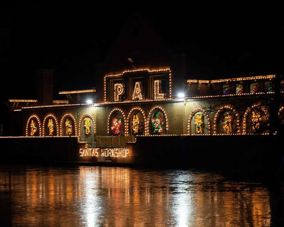 The Washington Park Lake and Bath House is decorated as part of the 23rd Annual Price Chopper/Market32 Capital Holiday Lights in the Park, which officially opened on Friday Nov. 29 and runs through Jan. 3, 2020. All proceeds benefit the Albany Police Athletic League programs. (Jim Franco/Special to the Times Union.)