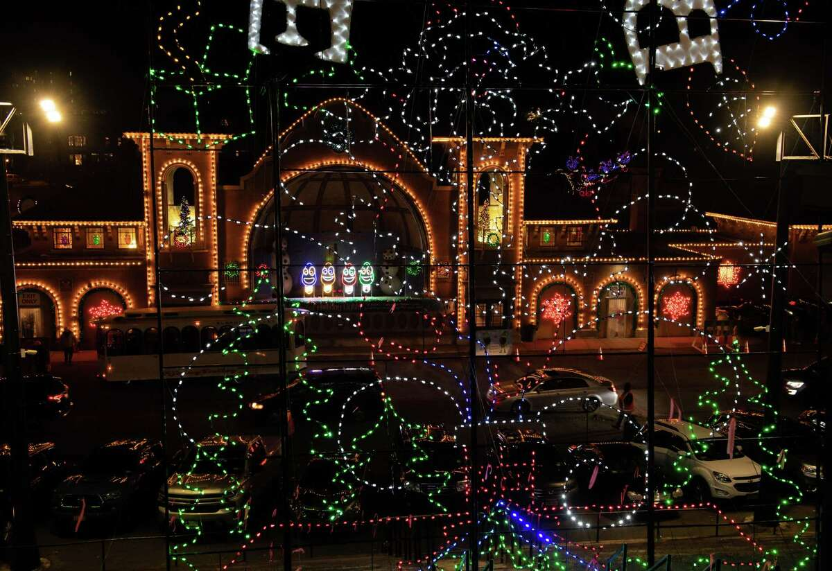The Washington Park Lake and Bath House decorated as part of annual Capital Holiday Lights in the Park display. Mayor Kathy Sheehan says the popular event should move. (Jim Franco/Special to the Times Union.)