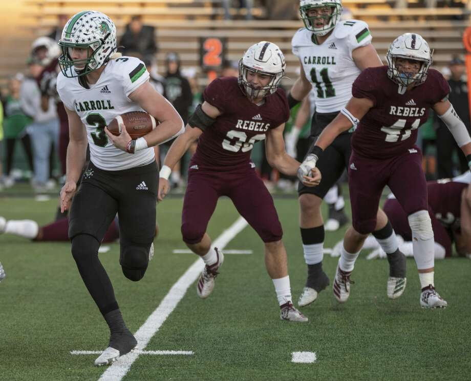 South Lake Carroll's Quinn Ewers looks for more yards as Lee Rebels chase him 11/30/19 as they battle at Shotwell Stadium in Abilene. Tim Fischer/Reporter-Telegram Photo: Tim Fischer/Midland Reporter-Telegram