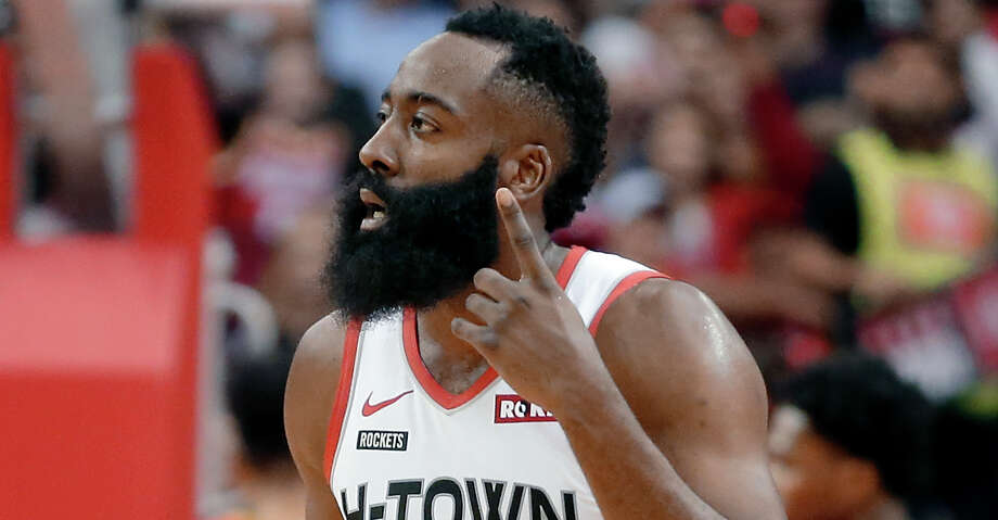 Houston Rockets guard James Harden (13) reacts after scoring a 3-point shot against the Atlanta Hawks during the first half of an NBA basketball game, Saturday, Nov. 30, 2019, in Houston. (AP Photo/Michael Wyke) Photo: Michael Wyke/Associated Press / Copyright 2019 The Associated Press. All rights reserved.