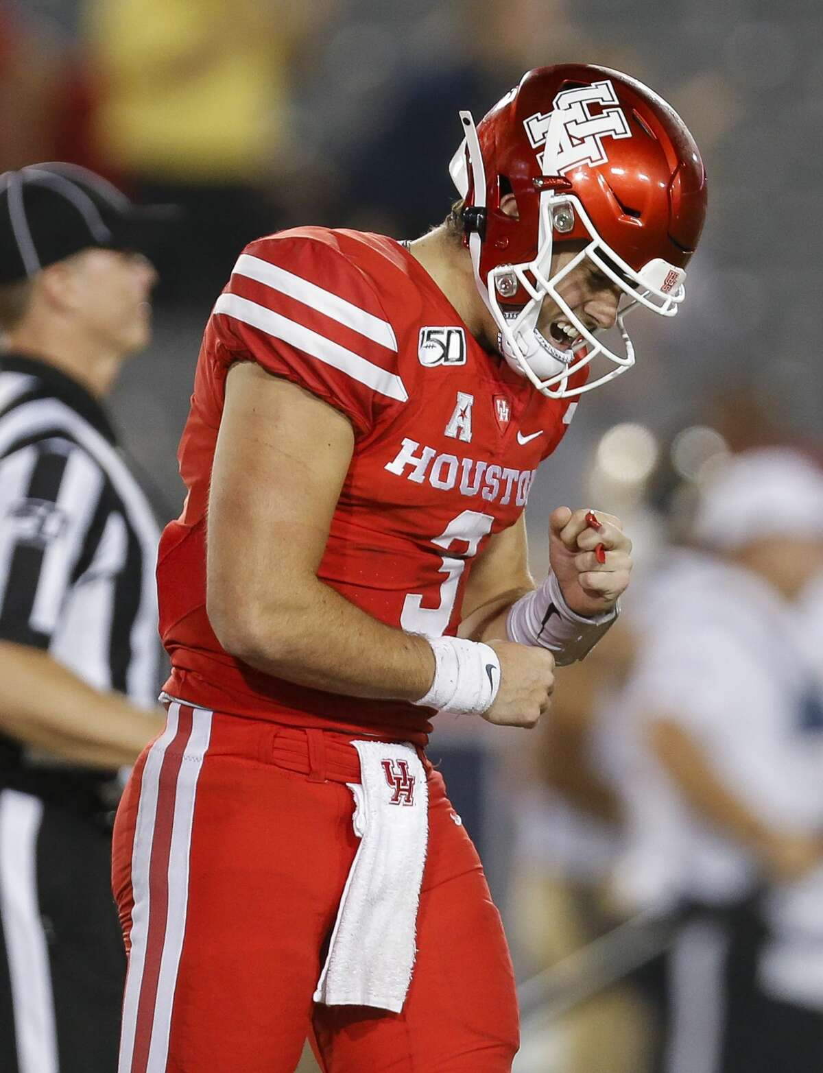 Houston Cougars quarterback Clayton Tune (3) reacts after throwing an interception against the Navy Midshipmen during the fourth quarter of an NCAA game at TDECU Stadium Saturday, Nov. 30, 2019, in Houston. Navy won 56-41.