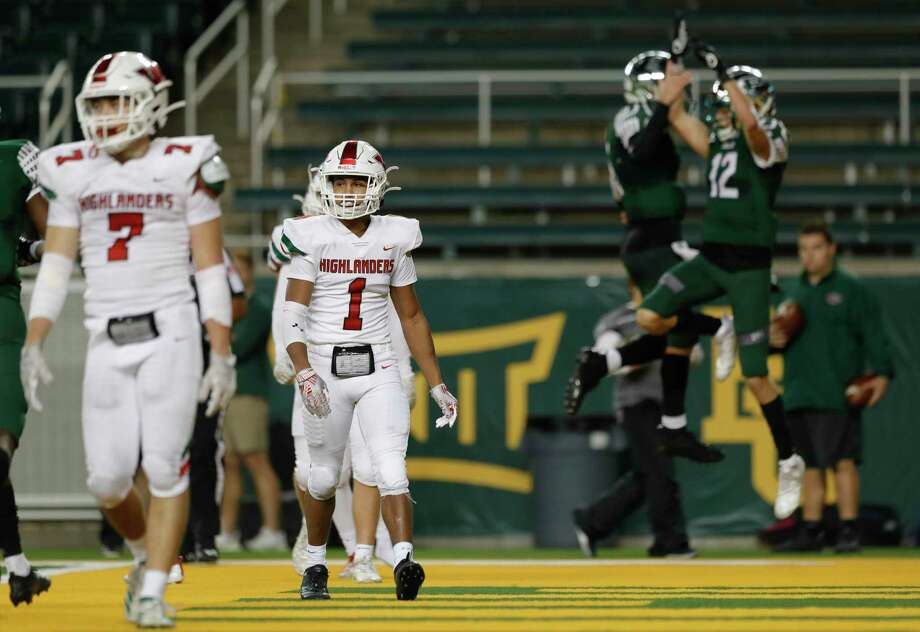 The Woodlands defensive back Kennedy Stewart (1) reacts as Prosper quarterback Jackson Berry (5) and wide receiver Hayden Metcalf (12) celebrate their 13-yard touchdown during the third quarter of a Region II-6A semifinal high school football playoff game at McLane Stadium, Saturday, Nov. 30, 2019, in Waco. Photo: Jason Fochtman, Houston Chronicle / Staff Photographer / Houston Chronicle