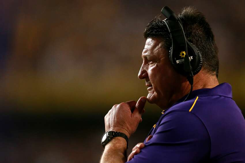 BATON ROUGE, LOUISIANA - NOVEMBER 30: head coach Ed Orgeron of the LSU Tigers looks on during a game against the Texas A&M Aggies at Tiger Stadium on November 30, 2019 in Baton Rouge, Louisiana. (Photo by Sean Gardner/Getty Images)