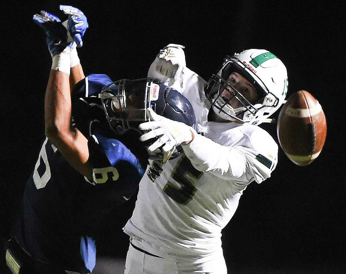 The Woodlands Christian Academy wide receiver Caedmon Parker (15) led the Warriors with 15 touchdown receptions last season and was second on the team in both catches (38) and receiving yards (789).