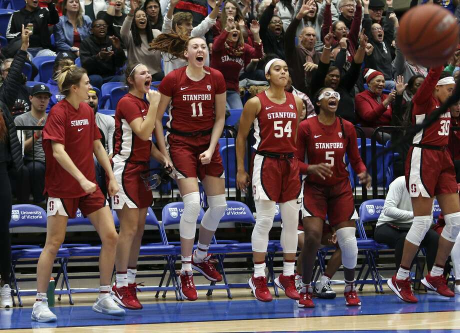 Stanford players celebrate a basket from the bench against Mississippi State during the third quarter of an NCAA college basketball game in Victoria, British Columbia, Saturday, Nov. 30, 2019. (Chad Hipolito/The Canadian Press via AP) Photo: Chad Hipolito / Associated Press