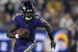 Baltimore Ravens quarterback Lamar Jackson in an NFL football game against the Los Angeles Rams Monday, Nov. 25, 2019, in Los Angeles. (AP Photo/Kyusung Gong)