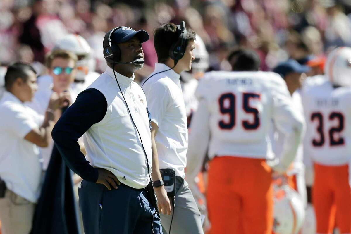 UTSA head coach Frank Wilson looks on after a play against Texas A&M during the third quarter of an NCAA college football game, Saturday, Nov. 2, 2019, in College Station, Texas. (AP Photo/Sam Craft)
