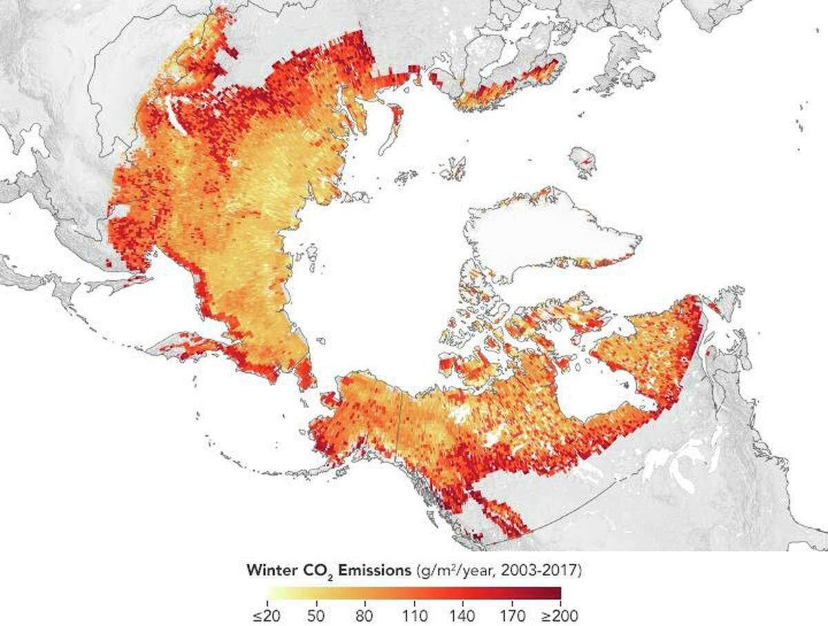 A NASA map shows the estimated annual winter (October to April) emissions of carbon dioxide for Arctic permafrost regions from 2003 to 2017. A team of more than 70 researchers compiled ground-based observations of carbon dioxide emissions and combined them with remote sensing data and ecosystem models to assess current and future carbon losses.