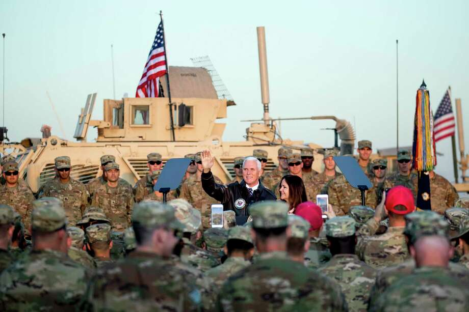 Vice President Mike Pence and his wife Karen Pence arrive to speak to troops at Erbil International Airport in Erbil, Iraq, Nov. 23. Photo: Andrew Harnik / Associated Press / Copyright 2019 The Associated Press. All rights reserved