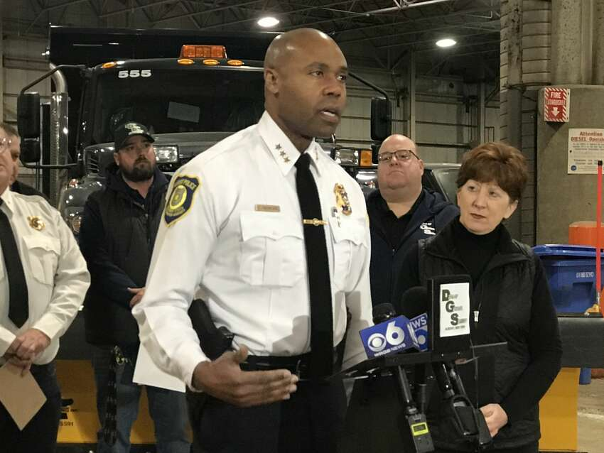 Albany Police Chief Eric Hawkins speaks at a press conference about an incoming winter storm Sunday, Dec. 1, 2019.