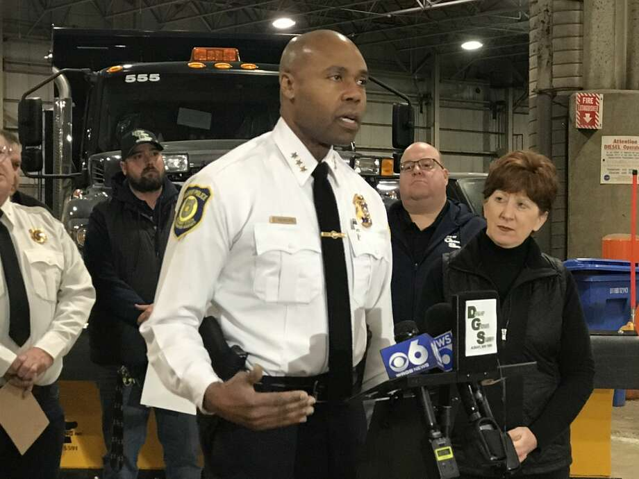 Albany Police Chief Eric Hawkins speaks at a press conference about an incoming winter storm Sunday, Dec. 1, 2019. Photo: Lauren Stanforth/Times Union
