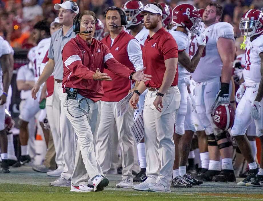 Alabama head coach Nick Saban disagrees with a call in the second half of an NCAA college football game against Auburn in Auburn, Ala., on Saturday, Nov. 30, 2019. (Chris Shimek/The Decatur Daily via AP) Photo: Chris Shimek, Associated Press / The Decatur Daily