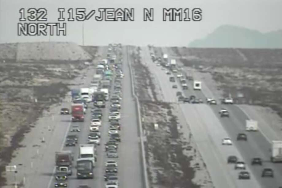 Screenshots from the Nevada Department of Transportation traffic cameras show the congestion along Interstate 15. The severe backup lasted more than 20 miles. Photo: Nevada Department Of Transportation