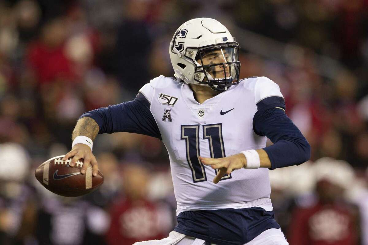Jack Zergiotis of UConn throws a pass against the Temple Owls in the second quarter at Lincoln Financial Field on November 30, 2019 in Philadelphia.