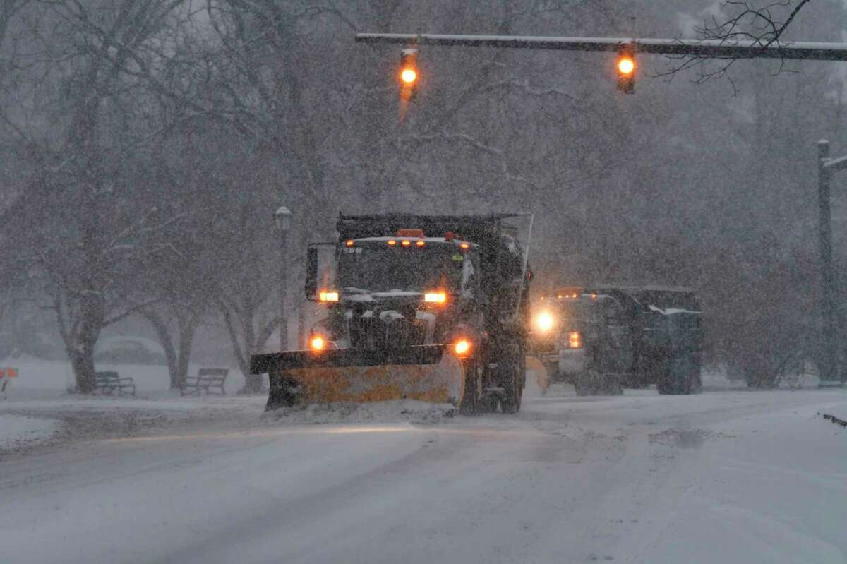 City of Albany employees drive snow plows to clear the streets on Sunday, Dec. 1, 2019, in Albany, N.Y. (Paul Buckowski/Times Union)
