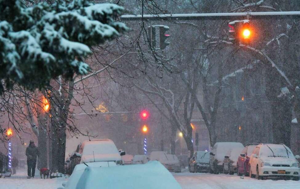 Snow falls on Lancaster Street on Sunday, Dec. 1, 2019, in Albany, N.Y. (Paul Buckowski/Times Union)