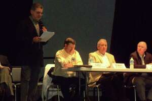 Burleson County Judge Mike Sutherland is shown here in a file photo from a forum on the Vista Ridge pipeline.