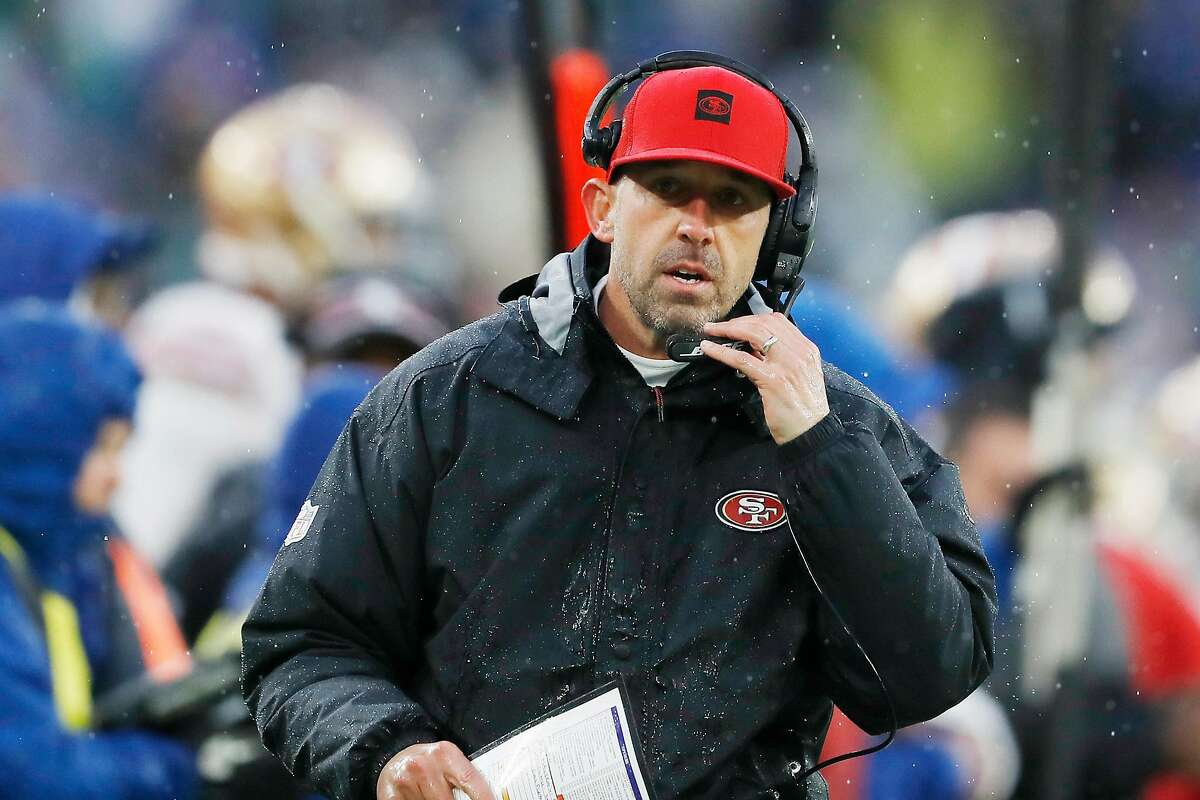 BALTIMORE, MARYLAND - DECEMBER 01: Head coach Kyle Shanahan of the San Francisco 49ers reacts during the first half against the Baltimore Ravens at M&T Bank Stadium on December 01, 2019 in Baltimore, Maryland. (Photo by Scott Taetsch/Getty Images)