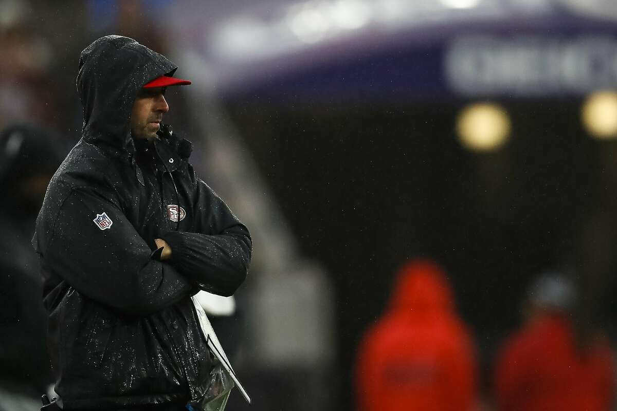 BALTIMORE, MD - DECEMBER 01: Head coach Kyle Shanahan of the San Francisco 49ers looks on in the second half of the game against the Baltimore Ravens at M&T Bank Stadium on December 1, 2019 in Baltimore, Maryland. (Photo by Scott Taetsch/Getty Images)