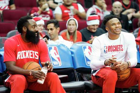 Guards James Harden, left, and Russell Westbrook won't be playing again until Wednesday, when the Rockets visit the Spurs.
