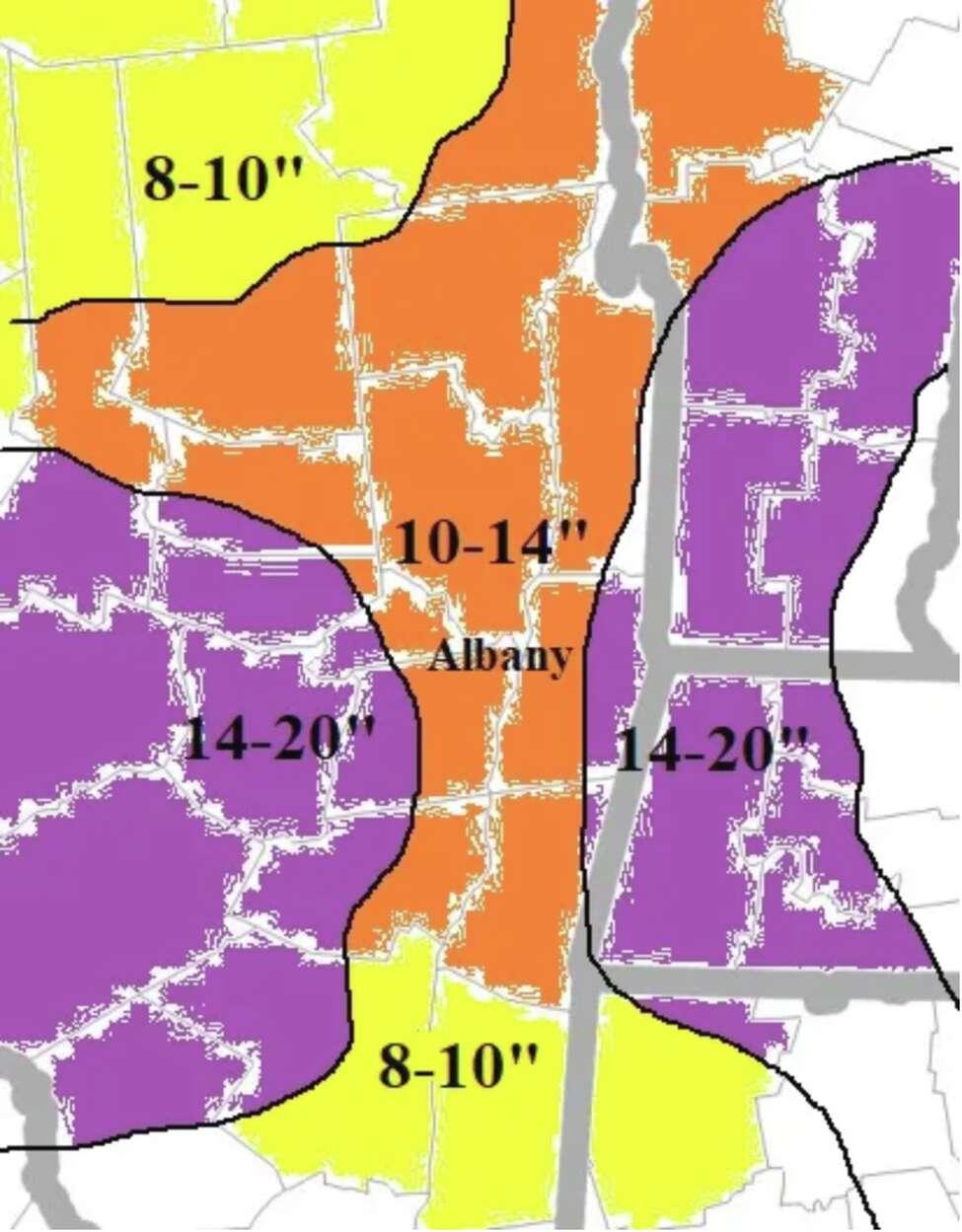 Snowfall forecast map from December 1, 2019.