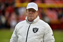 Oakland Raiders co-owner Mark Davis before an NFL football game against the Kansas City Chiefs in Kansas City, Mo., Sunday, Dec. 1, 2019. (AP Photo/Ed Zurga)