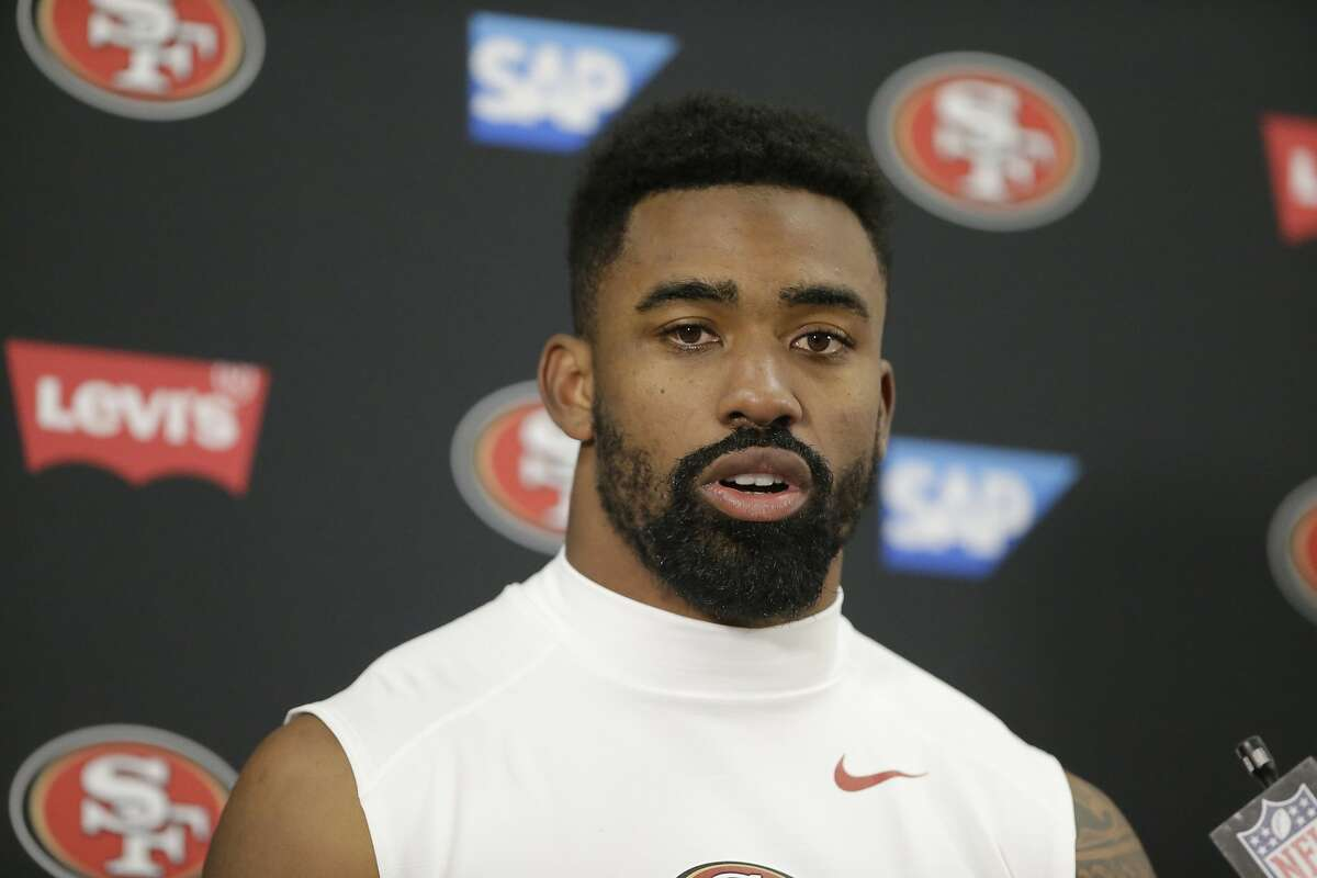 San Francisco 49ers running back Raheem Mostert speaks to members of the media after his team lost to Baltimore Ravens in an NFL football game, Sunday, Dec. 1, 2019, in Baltimore, Md. Ravens won 20-17. (AP Photo/Julio Cortez)