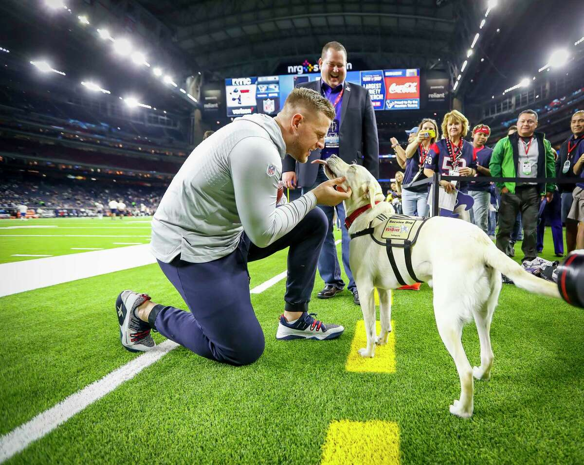 J.J. Watt gets a kiss from Sully, the dog that belonged to President George H.W. Bush, before the Texans game versus the Patriots at NRG Stadium, Sunday, Dec. 1, 2019, in Houston.