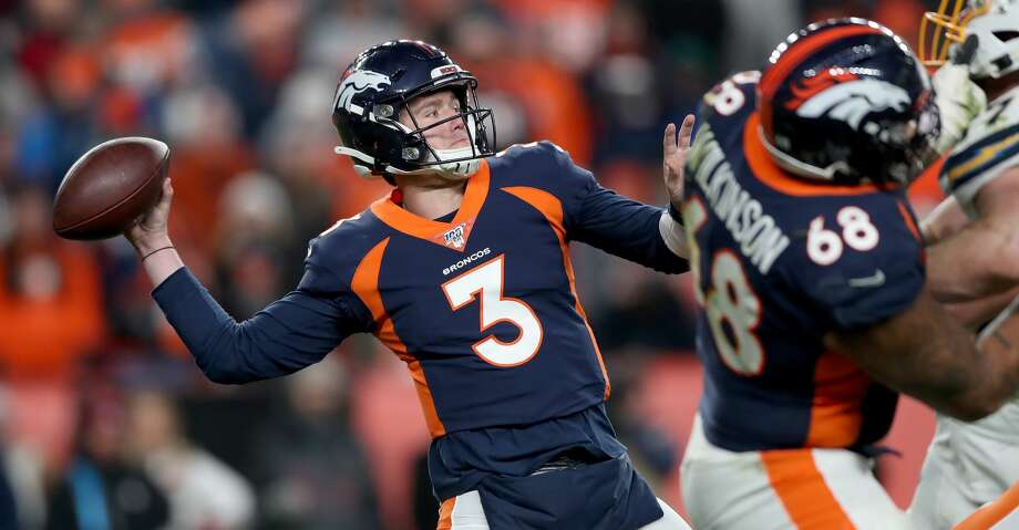 DENVER, COLORADO - DECEMBER 01: Quarterback Drew Lock #3 of the Denver Broncos throws against the Los Angeles Chargers in the final seconds of the fourth quarter at Empower Field at Mile High on December 01, 2019 in Denver, Colorado. (Photo by Matthew Stockman/Getty Images) Photo: Matthew Stockman/Getty Images